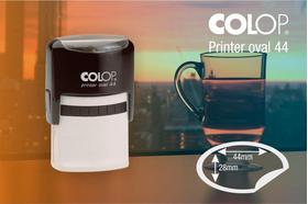 Ovālais zīmogs Colop Printer Oval 44, gatavs lietošanai.